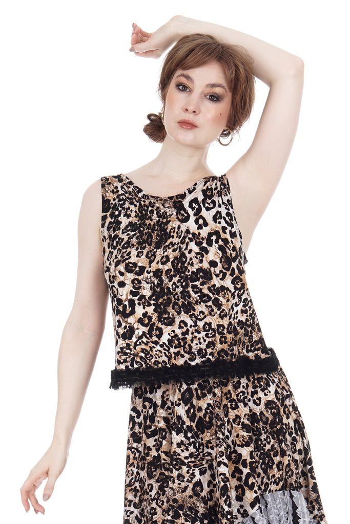 big cat ruffle tank - Poema Tango Clothes: handmade luxury clothing for Argentine tango