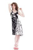 black & white moderne asymmetric dress - Poema Tango Clothes: handmade luxury clothing for Argentine tango
