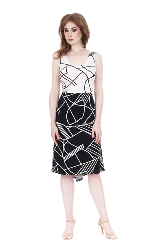 black & white moderne ruched tank dress