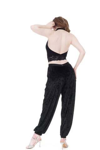 black crushed velvet tango trousers