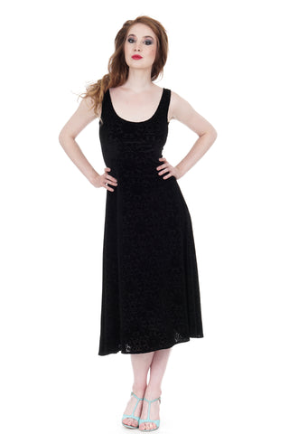 black kaleidoscope burnout velvet tank dress