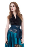 black rose and aquamarine wrap top - Poema Tango Clothes: handmade luxury clothing for Argentine tango