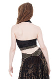 black rose burnout and french green lace ruched halter - Poema Tango Clothes: handmade luxury clothing for Argentine tango