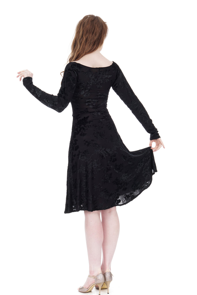black rose burnout long sleeve dress - Poema Tango Clothes: handmade luxury clothing for Argentine tango