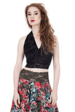 black rose burnout ruched halter - Poema Tango Clothes: handmade luxury clothing for Argentine tango
