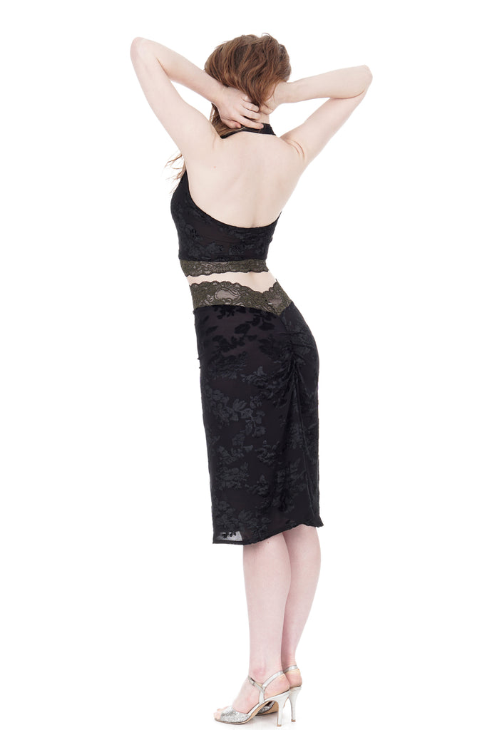 black rose burnout ruched skirt - Poema Tango Clothes: handmade luxury clothing for Argentine tango