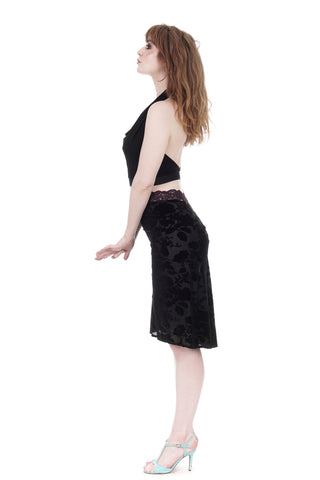 black rose burnout ruched skirt