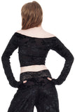black rose burnout sleeved top - Poema Tango Clothes: handmade luxury clothing for Argentine tango