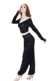 black rose burnout tango trousers - Poema Tango Clothes: handmade luxury clothing for Argentine tango