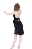 black rose burnout velvet fluted skirt - Poema Tango Clothes: handmade luxury clothing for Argentine tango