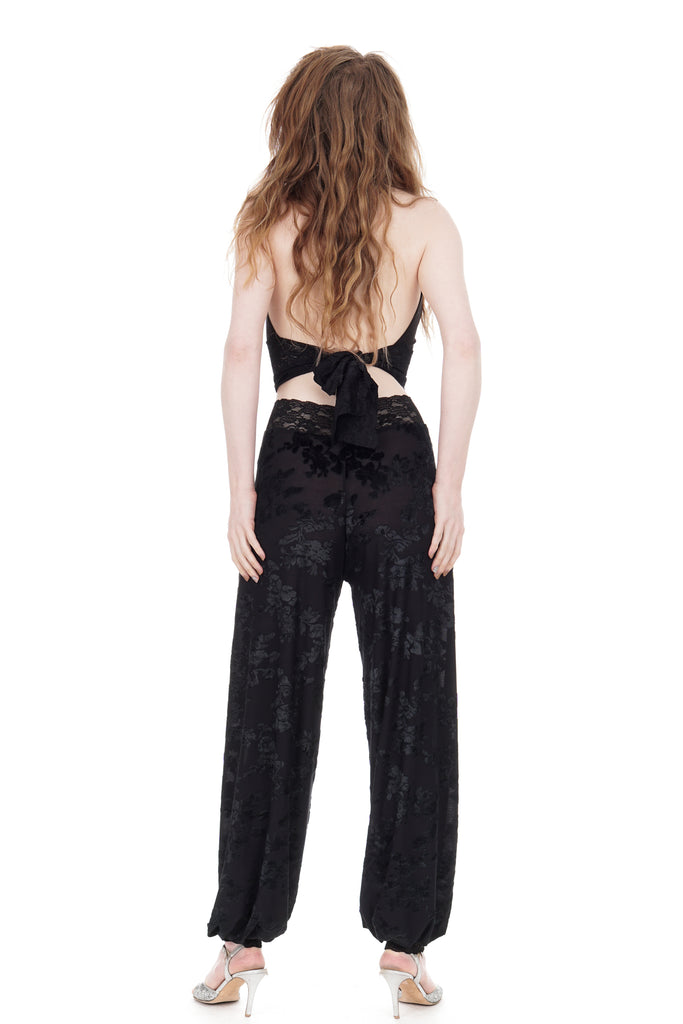 black rose burnout velvet tango trousers - Poema Tango Clothes: handmade luxury clothing for Argentine tango