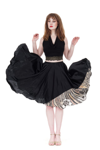 black silk & deco burnout velvet skirt