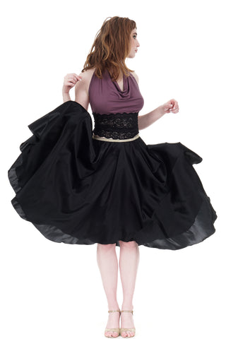 black silk iris skirt
