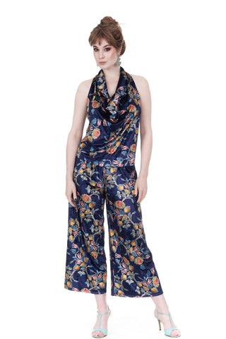 bloom-traced velvet dance trousers