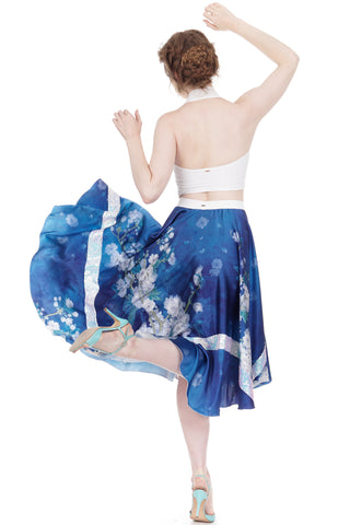 blossoms on sky silk & sequin skirt