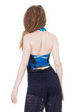 blue danube draped halter - Poema Tango Clothes: handmade luxury clothing for Argentine tango