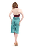 blue jewel ruched skirt - Poema Tango Clothes: handmade luxury clothing for Argentine tango