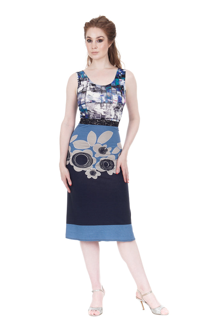 blue on blue ruched dress - Poema Tango Clothes: handmade luxury clothing for Argentine tango