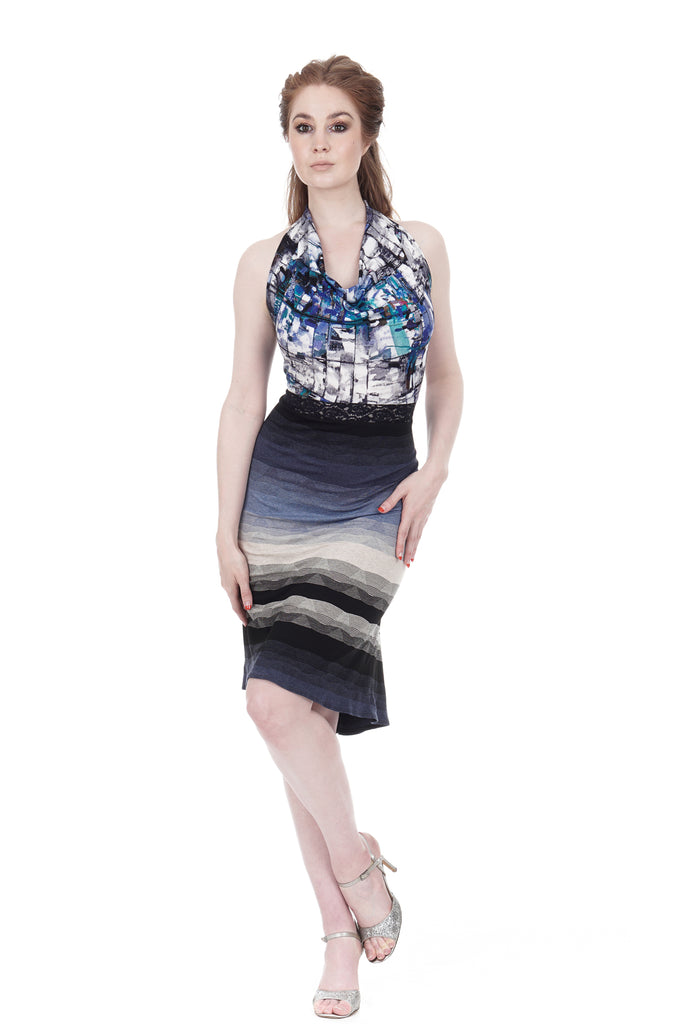 blue palette & twilight ombre halter dress - Poema Tango Clothes: handmade luxury clothing for Argentine tango