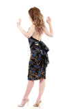 blue roses ruched skirt - Poema Tango Clothes: handmade luxury clothing for Argentine tango