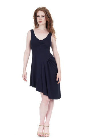 blue shadow draped tank dress