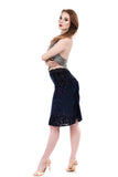 blue velvet burnout ruched skirt - Poema Tango Clothes: handmade luxury clothing for Argentine tango