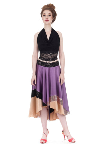 blush & sequin-dipped amethyst silk skirt - CLEARANCE