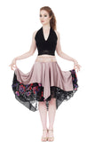 blush silk & stained glass roses burnout circle skirt - Poema Tango Clothes: handmade luxury clothing for Argentine tango