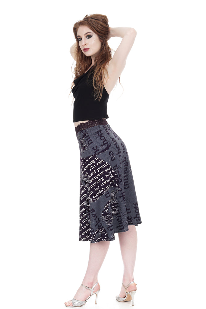 bookish flared skirt - Poema Tango Clothes: handmade luxury clothing for Argentine tango