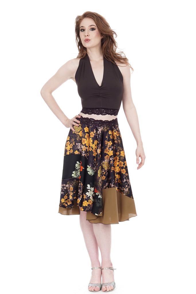 boughs of gold circle skirt - Poema Tango Clothes: handmade luxury clothing for Argentine tango