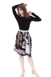bouquet neoprene bustled skirt - Poema Tango Clothes: handmade luxury clothing for Argentine tango