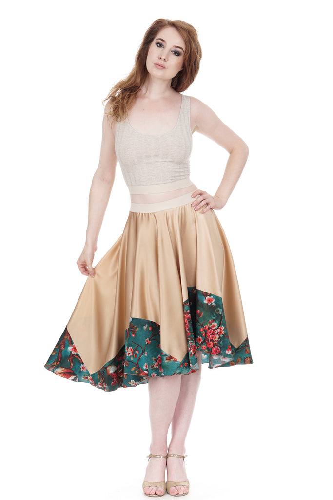 branch-dipped rose gold silk skirt - Poema Tango Clothes: handmade luxury clothing for Argentine tango