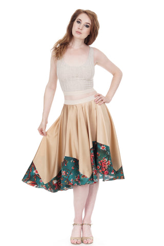 branch-dipped rose gold silk skirt