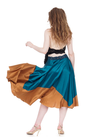 bronze-dipped turquoise silk skirt