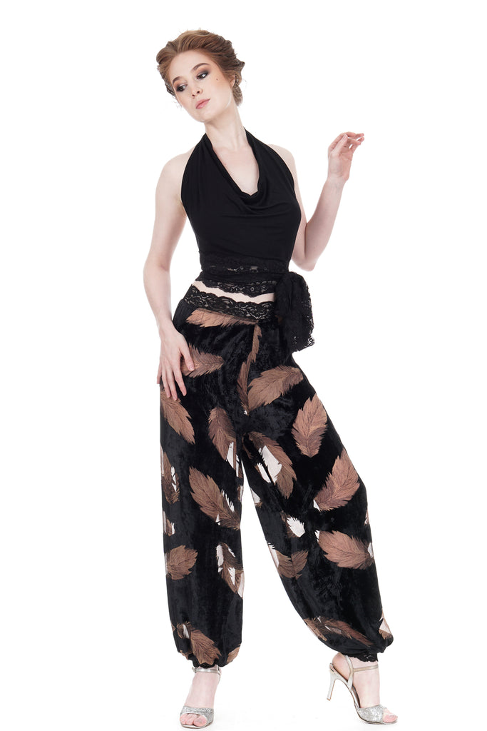 burnout feathers tango trousers - Poema Tango Clothes: handmade luxury clothing for Argentine tango