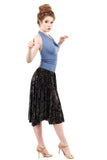 burnout medallion raw hem skirt - Poema Tango Clothes: handmade luxury clothing for Argentine tango