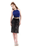 burnout medallion velvet fluted skirt - Poema Tango Clothes: handmade luxury clothing for Argentine tango