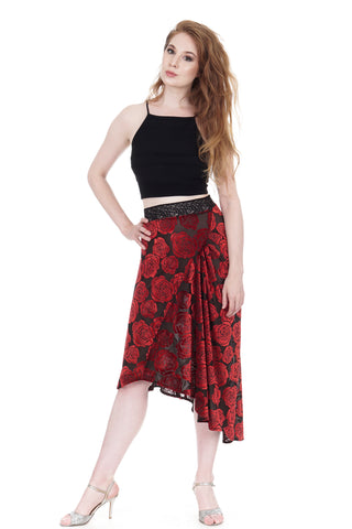 burnout velvet roses draped & ruched skirt