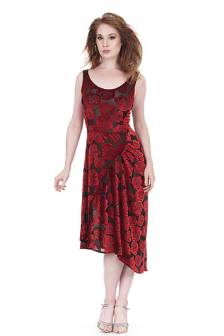 burnout velvet roses draped tank dress