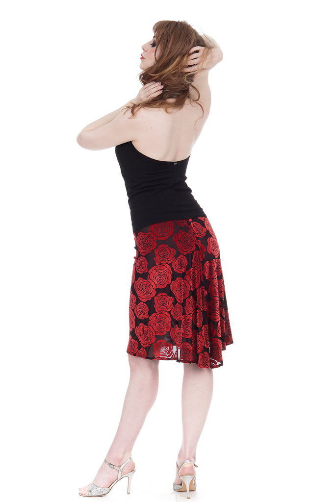 burnout velvet roses fluted skirt - Poema Tango Clothes: handmade luxury clothing for Argentine tango