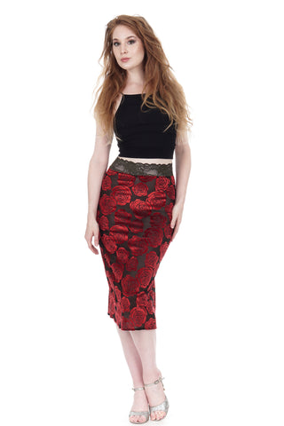 burnout velvet roses pencil skirt