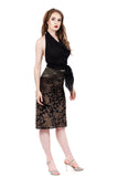 burnout velvet ruched skirt - Poema Tango Clothes: handmade luxury clothing for Argentine tango