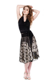 butterfly and goldshot wing circle skirt - Poema Tango Clothes: handmade luxury clothing for Argentine tango