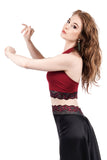 cabernet and sweetrose ruched halter - Poema Tango Clothes: handmade luxury clothing for Argentine tango
