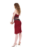 cabernet and sweetrose ruched skirt - Poema Tango Clothes: handmade luxury clothing for Argentine tango