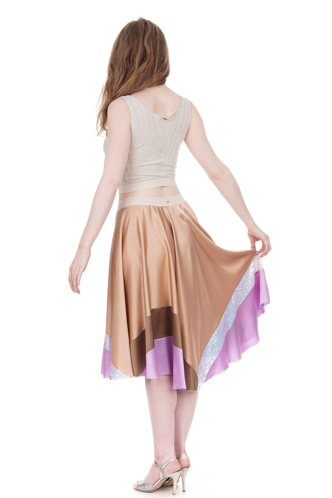 candy cream gradient silk skirt - Poema Tango Clothes: handmade luxury clothing for Argentine tango