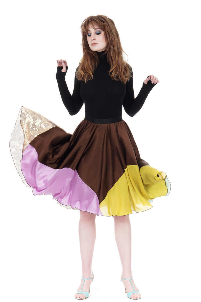 candy-dipped sable silk skirt - Poema Tango Clothes: handmade luxury clothing for Argentine tango