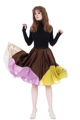 candy-dipped sable silk skirt