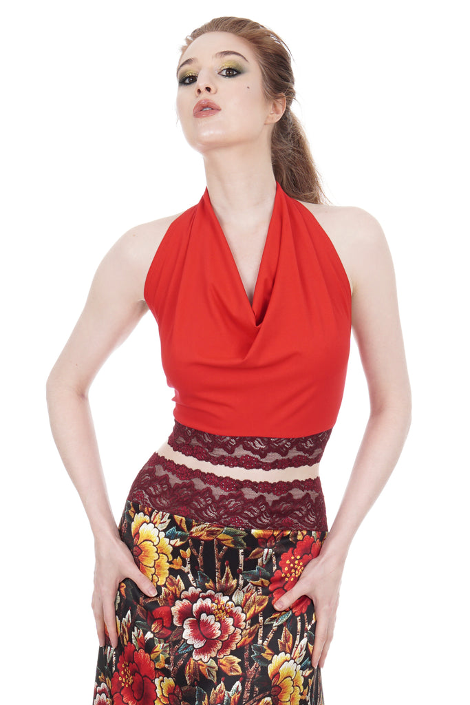 cardinal & wine signature halter - Poema Tango Clothes: handmade luxury clothing for Argentine tango