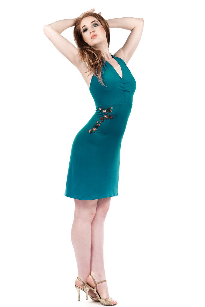 cerulean ruched embellished dress - Poema Tango Clothes: handmade luxury clothing for Argentine tango